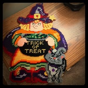 Cute Halloween Witch wall hanging plastic canvas
